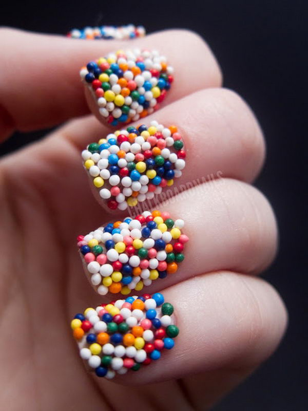 3D Candy Ball Nail Art, 3D nail art is a technique for decorating nails that creates three dimensional designs.
