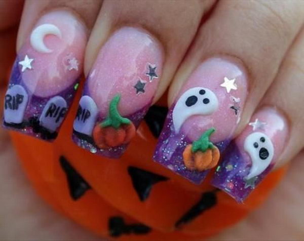 Cute 3D Halloween Nails, 3D nail art is a technique for decorating nails that creates three dimensional designs.