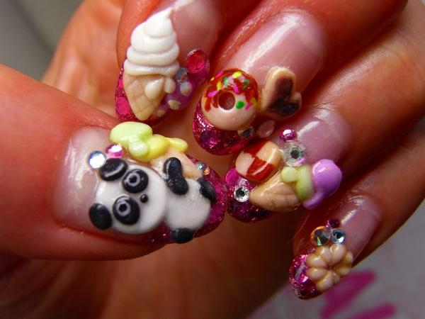 Japaneese Food 3D Nail Art Design, 3D nail art is a technique for decorating nails that creates three dimensional designs.