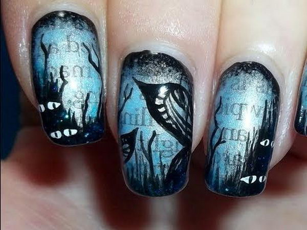 Dark Newspaper Nails for Halloween.