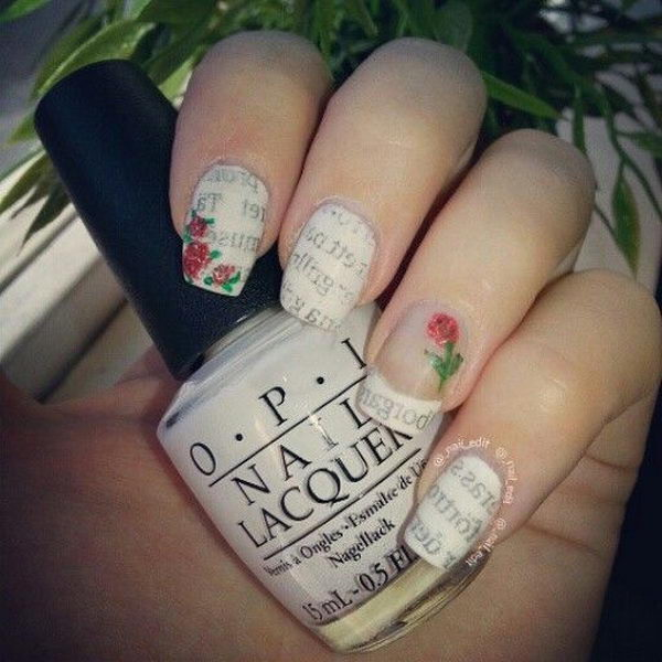 Newspaper Nails with Roses.