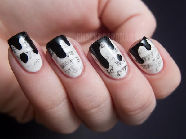 Newsprint Nail Art with Ink Drop Tips.