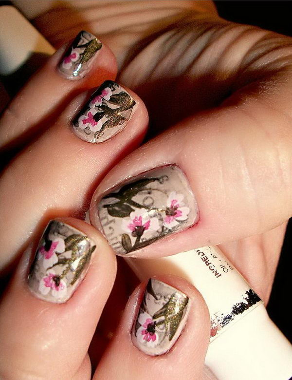 Vintage Antique Floral Newspaper Nail Art.
