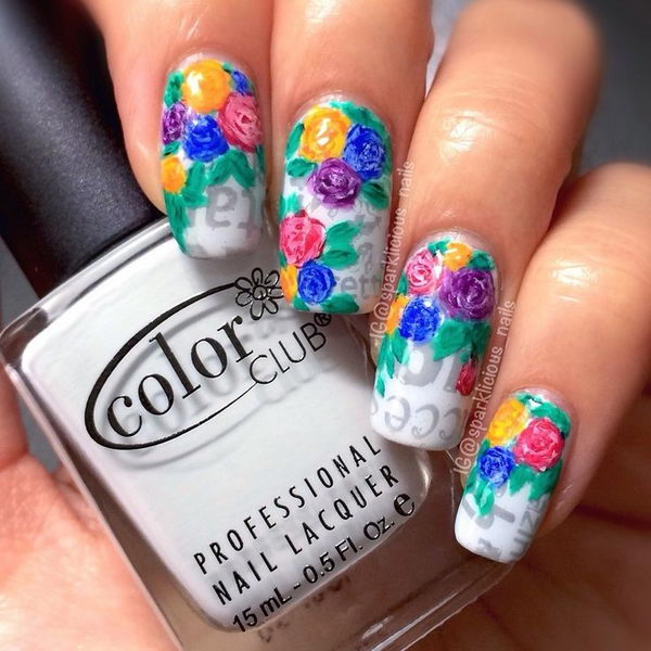 Floral on Newspaper Nail Art.