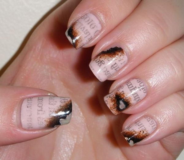 Burnt Newspaper Nail Art.