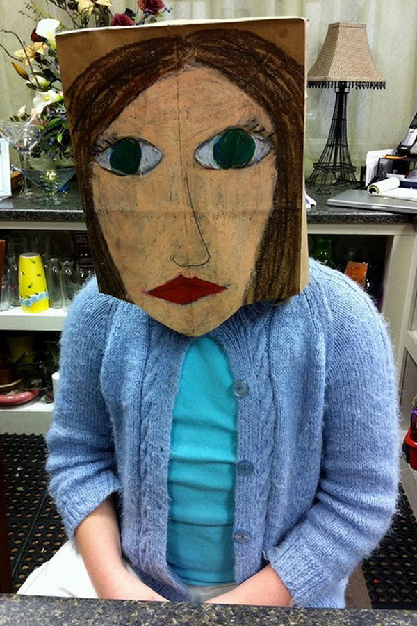 Portrait Mask on Brown Paper Bag. There is no easier costume than a paper bag mask. Grab a paper bag and cut out holes for your eyes then grab a few markers and let your imagination go wild. They are so simple for kids to make and to wear.
