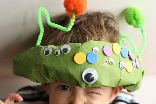 Paper Bag Monster Hat. There is no easier costume than a paper bag mask. Grab a paper bag and cut out holes for your eyes then grab a few markers and let your imagination go wild. They are so simple for kids to make and to wear.