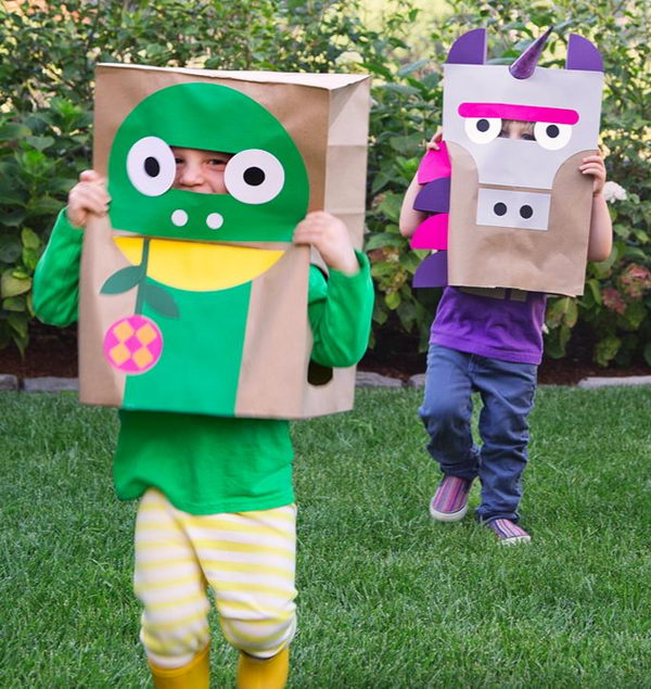 DIY Paper Bag Costumes. There is no easier costume than a paper bag mask. Grab a paper bag and cut out holes for your eyes then grab a few markers and let your imagination go wild. They are so simple for kids to make and to wear.