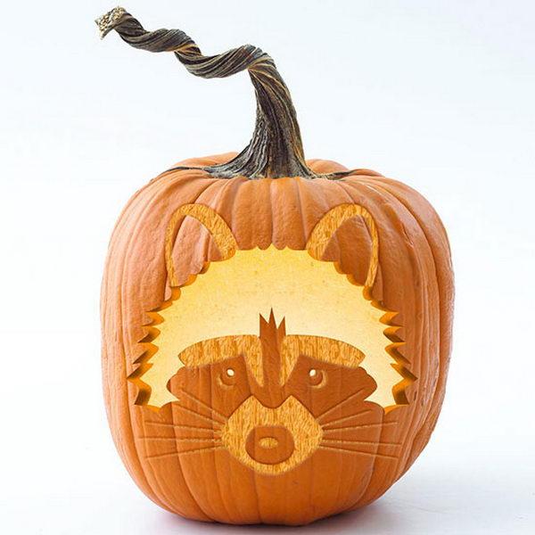 Woodland Stenciled Pumpkins.