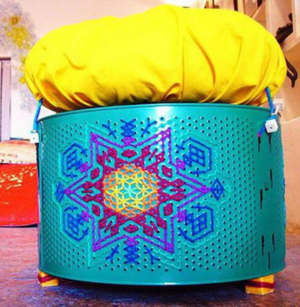 Embroidered Stool Made From Washing Machine Drums.