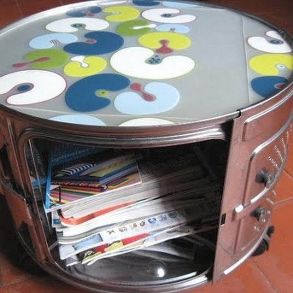 Book Storage Idea Using Washing Machine Drums.