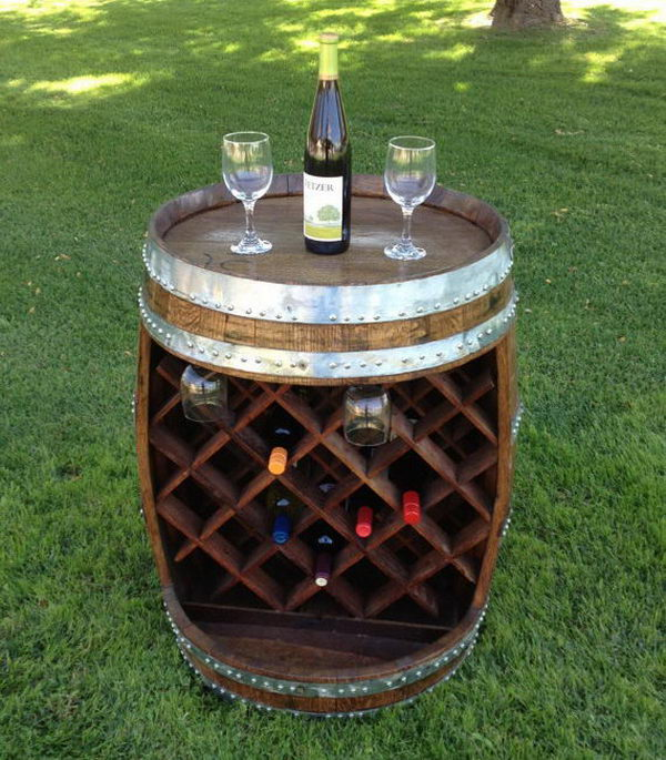 Wine Barrel Wine Rack. Really fun to create and have an aesthetic appeal that applies to your unique home.