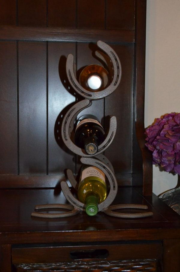 Horseshoe Wine Rack. Really fun to create and have an aesthetic appeal that applies to your unique home.
