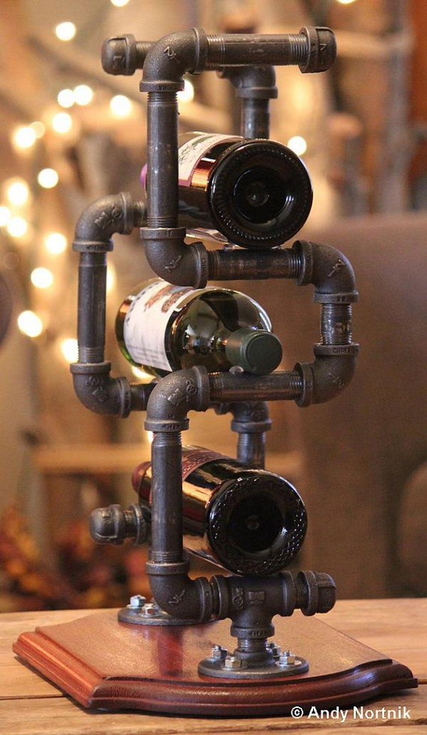 Industrial Style Wine Rack. Really fun to create and have an aesthetic appeal that applies to your unique home.