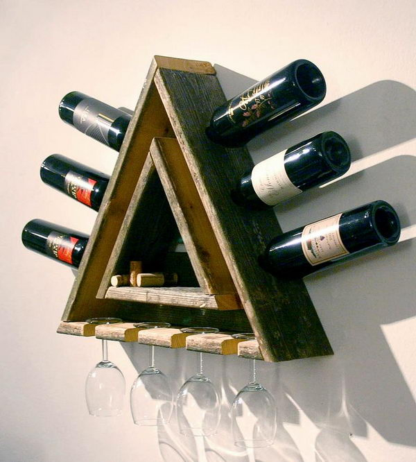 Triangular Wood Wine Rack. Really fun to create and have an aesthetic appeal that applies to your unique home.