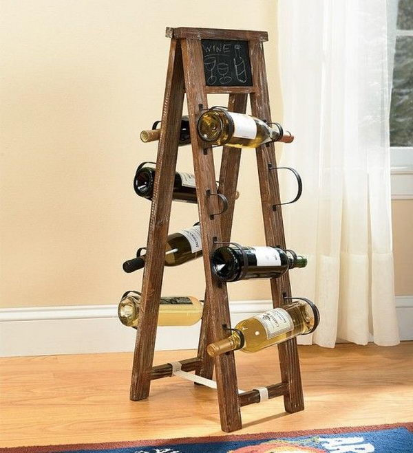 Repurposed Ladder Wine Rack. Really fun to create and have an aesthetic appeal that applies to your unique home.