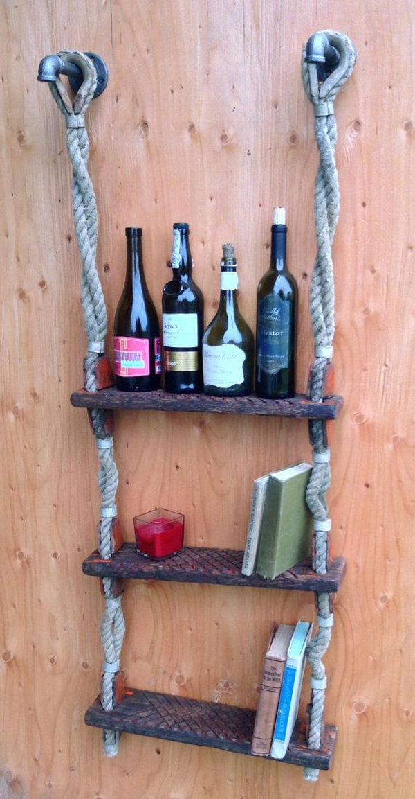 Ship Ladder Wine Rack. Really fun to create and have an aesthetic appeal that applies to your unique home.