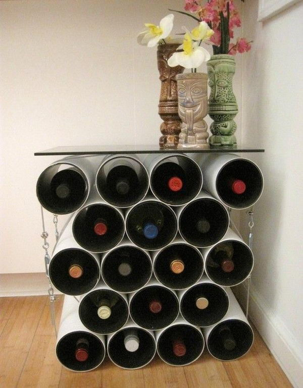 Tubular Wine Rack Table. Really fun to create and have an aesthetic appeal that applies to your unique home.