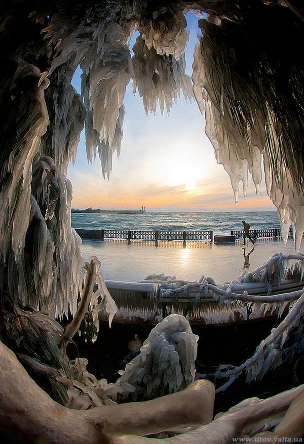 Winter Morning in Yalta, Crimea, Ukraine.