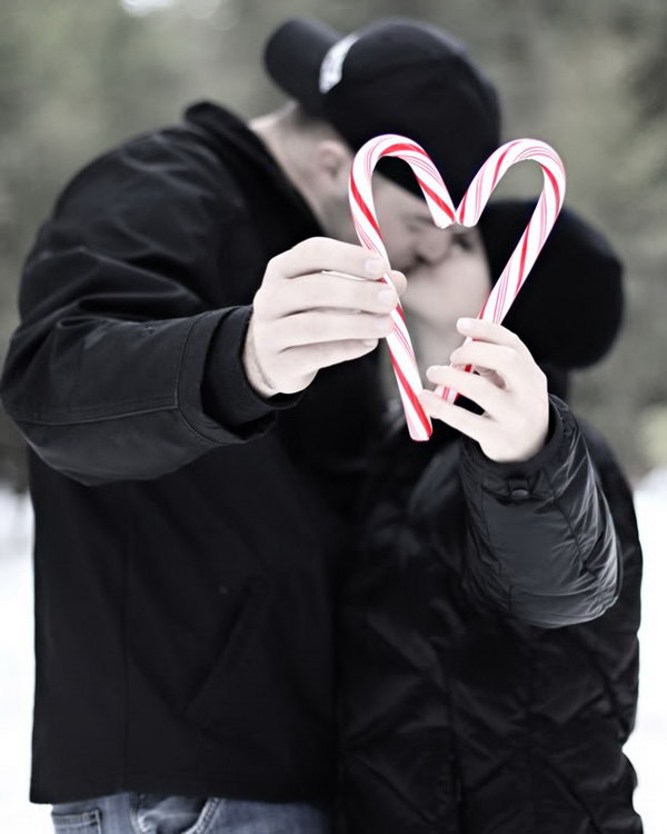 Candy Cane Heart Christmas Photo.