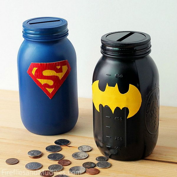 Mason Jar Superhero Banks. A great way to introduce the concept of saving and spending to your little ones.