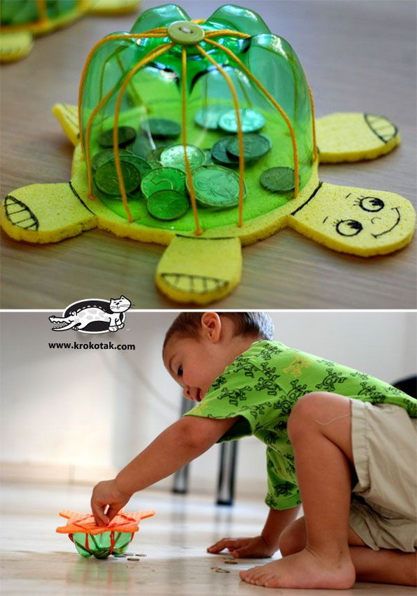 DIY Turtle Bank. A great way to introduce the concept of saving and spending to your little ones.