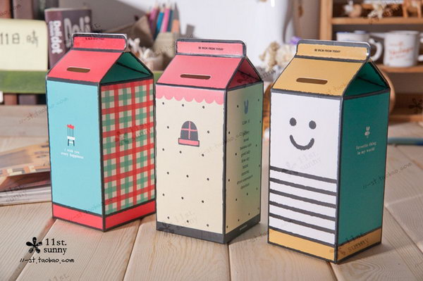 Milk Box Piggy Bank. A great way to introduce the concept of saving and spending to your little ones.
