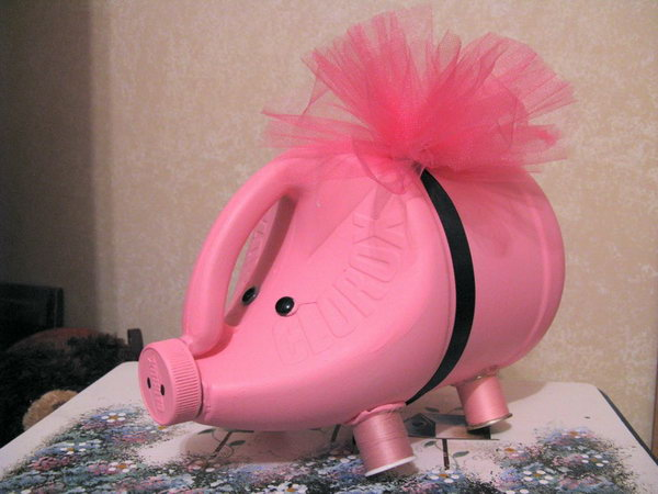 Pink Clorox Bottle Piggy Bank. A great way to introduce the concept of saving and spending to your little ones.