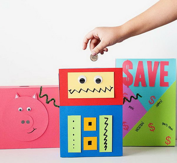 DIY Cereal Box Piggy Banks. A great way to introduce the concept of saving and spending to your little ones.