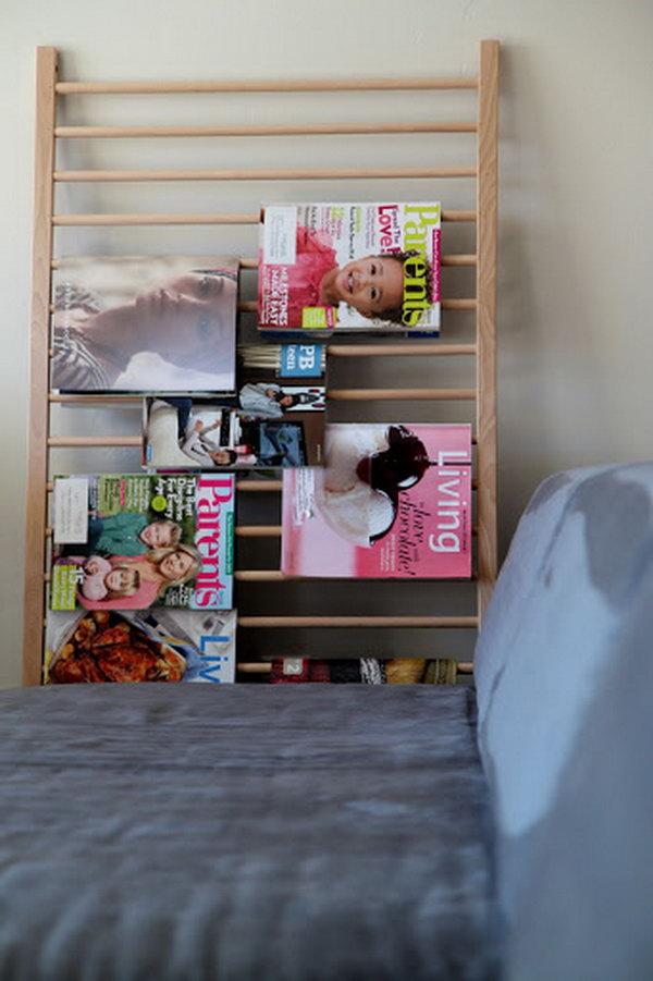 Crib repurposed magazine rack.