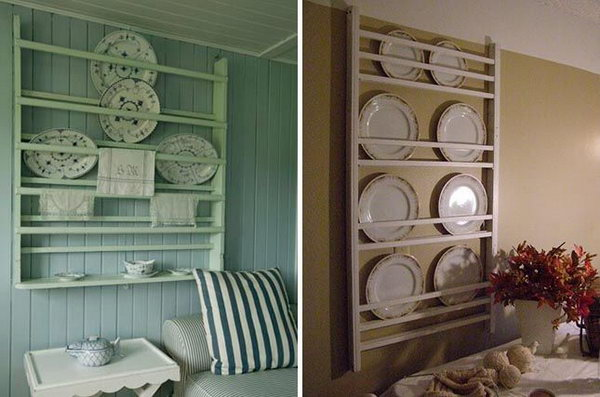 DIY plate rack from a crib.