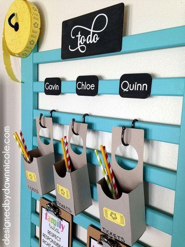 Crib organizer wall.