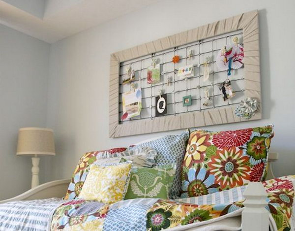 Repurposed crib spring memo board.
