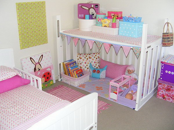 Crib upside down as a playhouse for kids.