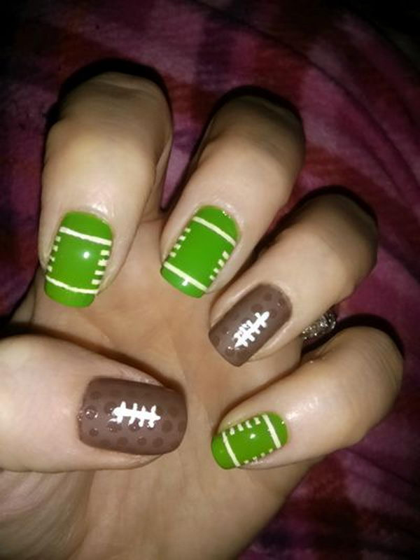 Cool Football Nail Art. A fun way to support your team and show off your - 25 Cool Football Nail Art Designs 2017