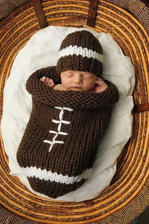 Knitting Football Sock Blanket. Cool Knitting Project Ideas