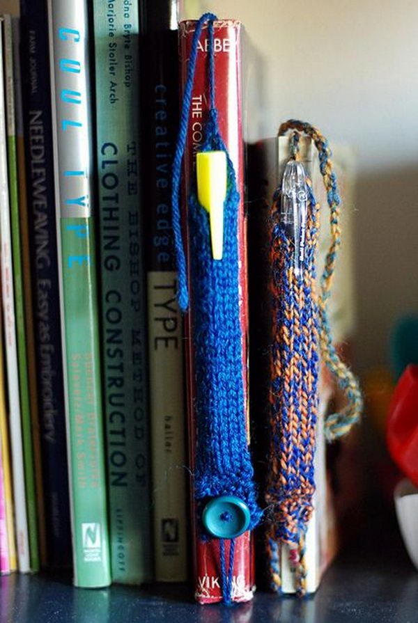 Pen Tube Bookmarks. Cool Knitting Project Ideas