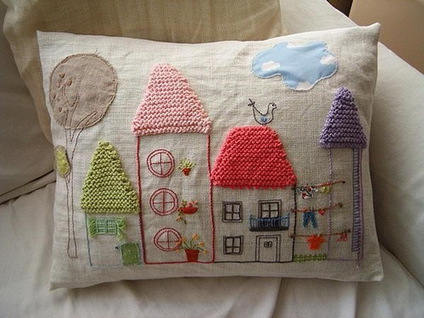Houses Embroidery. Cool Knitting Project Ideas