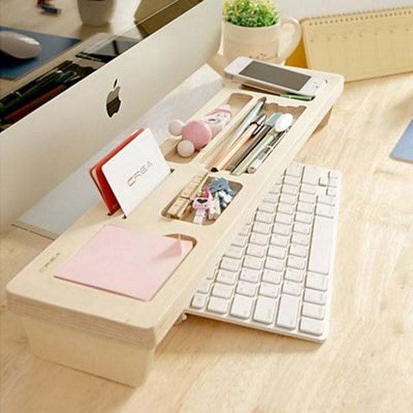 Wooden Keyboard Shelf. Creatively organized home office boosts your mood and make you more productive.
