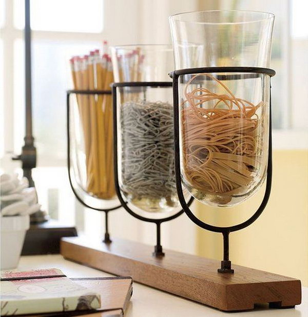 Everyday Office Supplies Organization. Creatively organized home office boosts your mood and make you more productive.