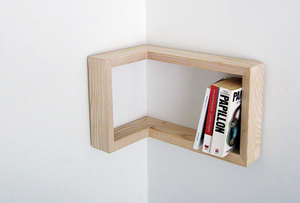 Framing Shelf on Corner. Creatively organized home office boosts your mood and make you more productive.