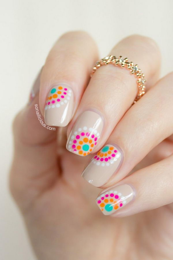 Cute Polka Dot Nail Art. Polka dot is a pattern consisting of an array of filled circles.
