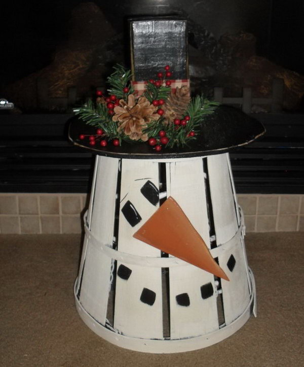 Old peck basket snowman. Add charm to any Christmas tree or gift box, and make charming and thoughtful holiday presents for friends and family members.