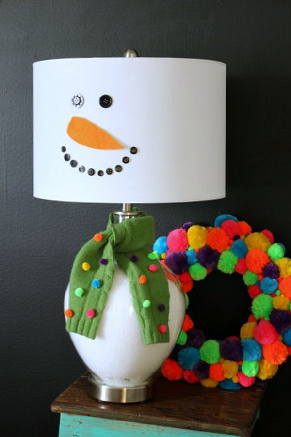 DIY snowman lamp. Add charm to any Christmas tree or gift box, and make charming and thoughtful holiday presents for friends and family members.