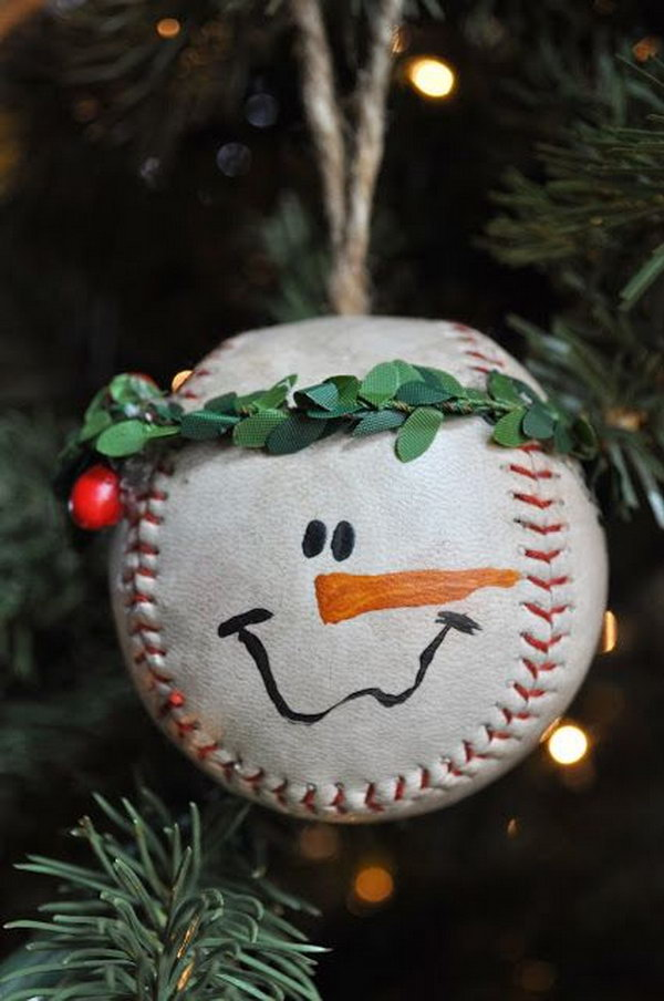 Baseball snowman ornament. Add charm to any Christmas tree or gift box, and make charming and thoughtful holiday presents for friends and family members.