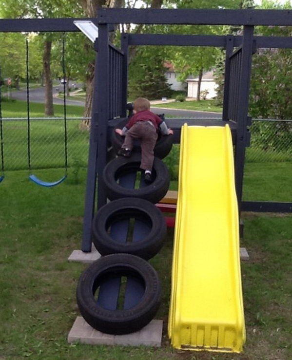 Swing set tire ladder.