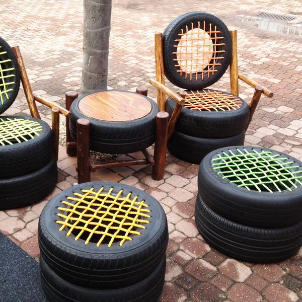 Seats made from old tires.
