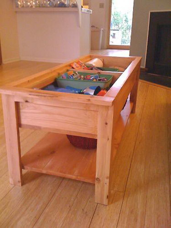 diy coffee table with hidden toy storage,