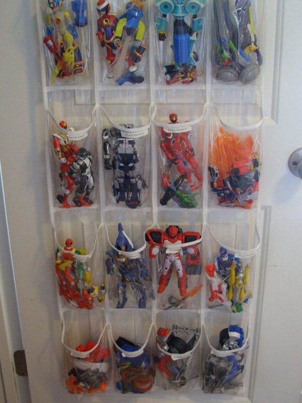 shoe organizer as toy storage,