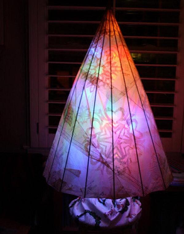 Upcycled umbrella tree.